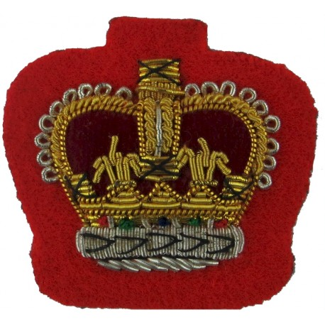 Staff Sergeant's Rank Crown - Small - Mess Kit On Scarlet with Queen Elizabeth's Crown. Bullion wire-embroidered NCO or Officer