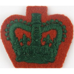 Staff Sergeant's Rank Crown (WRAC) Green On Beech Brown with Queen Elizabeth's Crown. Embroidered NCO or Officer Cadet rank badg