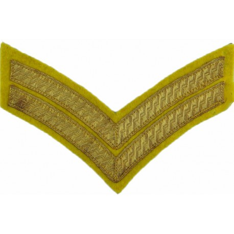 Corporal's Rank Stripes (Female UDR Issue) Green On Scarlet  Embroidered NCO or Officer Cadet rank badge
