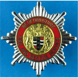 Bedfordshire Fire And Rescue Service Cap Badge  Chrome, gilt and enamel Fire and Rescue Service insignia