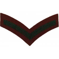 Lance-Corporal's Rank Stripe (WRAC) Green On Beech Brown  Embroidered NCO or Officer Cadet rank badge