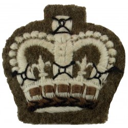 Colour Sergeant's Rank Crown - No.2 Dress Small - On Khaki with Queen Elizabeth's Crown. Embroidered NCO or Officer Cadet rank b