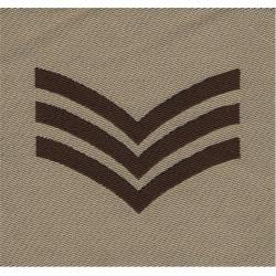 Sergeant's Rank Badge (Brown On Sand) Desert Combat Issue  Woven NCO or Officer Cadet rank badge