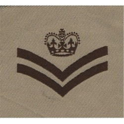 Sergeant's Rank Stripes (Female UDR Issue) Green On Scarlet Embroidered NCO or Officer Cadet rank badge