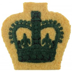 Colour Serjeant's Rank Crown (Light Infantry) Green On Maize with Queen Elizabeth's Crown. Embroidered NCO or Officer Cadet rank