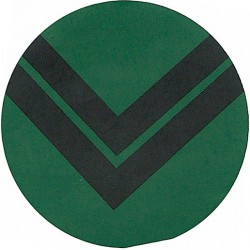 NBC Suit Rank Sticker - Corporal Black On Green  Vinyl NCO or Officer Cadet rank badge