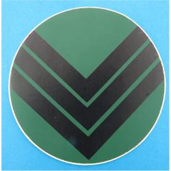 NBC Suit Rank Sticker - Sergeant Black On Green  Vinyl NCO or Officer Cadet rank badge