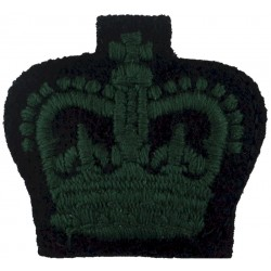 Colour Sergeant's Rank Crown  (Royal Irish Rangers) Green On Black: Rare with Queen Elizabeth's Crown. Embroidered NCO or Office