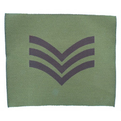 Sergeant Rank Badge For DPM Combat Jacket Black On Olive Green  Woven NCO or Officer Cadet rank badge