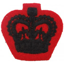 Colour Sergeant's Rank Crown (2nd KEO Gurkha Rifles) Black On Scarlet with Queen Elizabeth's Crown. Embroidered NCO or Officer C