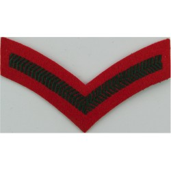 Lance-Corporal's Rank Stripe (Female UDR Issue) Green On Scarlet  Embroidered NCO or Officer Cadet rank badge