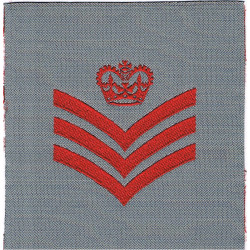 Staff Sergeant Rank Badge (QARANC) Red On Grey Square with Queen Elizabeth's Crown. Woven NCO or Officer Cadet rank badge