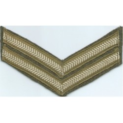 Hon Artillery Coy Blue Tunic Rank Chevrons - 3 Bars Silver Outline/ Blue  Bullion wire-embroidered NCO or Officer Cadet rank bad