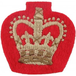 Colour Sergeant's Rank Crown (Duke Of Wellington's) White On Scarlet with Queen Elizabeth's Crown. Embroidered NCO or Officer Ca