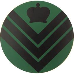 NBC Suit Rank Sticker - Staff Sergeant Black On Green with Queen Elizabeth's Crown. Vinyl NCO or Officer Cadet rank badge