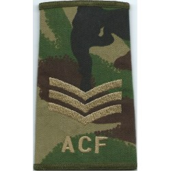 ACF Sergeant SI (Army Cadet Force) Brown On Camouflage  Embroidered NCO or Officer Cadet rank badge