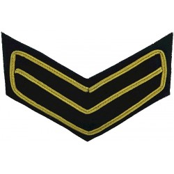 Household Cavalry No.2 Dress Rank Chevrons - 3 Bars White On Khaki Large  Embroidered NCO or Officer Cadet rank badge