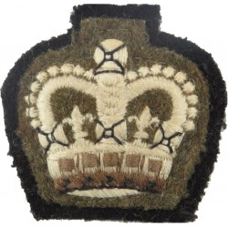 Colour Sergeant's Rank Crown (Staffordshire Regt) Sewn Onto Black with Queen Elizabeth's Crown. Embroidered NCO or Officer Cadet