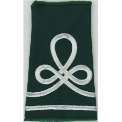 Staff Sergeant's Rank Badge On Large Rectangle Black On Olive Green with Queen Elizabeth's Crown. Embroidered NCO or Officer Cad