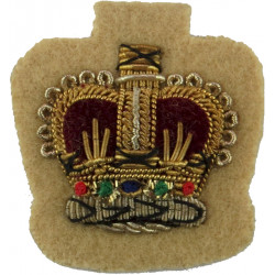 WO2 (Crown Only) Rank Badge - Gurkhas / Rifles Black On Rifle Green with Queen Elizabeth's Crown. Embroidered Warrant Officer ra