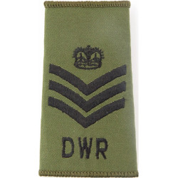 Colour Sergeant (Duke Of Wellington's Regiment) Black On Olive with Queen Elizabeth's Crown. Embroidered NCO or Officer Cadet ra
