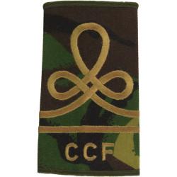CCF Junior Under-Officer - Brown On Olive Knot & 1 Bar  Embroidered NCO or Officer Cadet rank badge