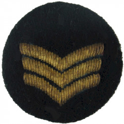 Sergeant's Rank Stripes - WRAC Tropical Mess Dress On Small Black Disc  Bullion wire-embroidered NCO or Officer Cadet rank badge