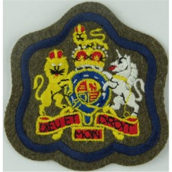 WO1 (RSM) Rank Badge (on Khaki - Blue Border) RE, REME, R.Signals with Queen Elizabeth's Crown. Embroidered Warrant Officer rank