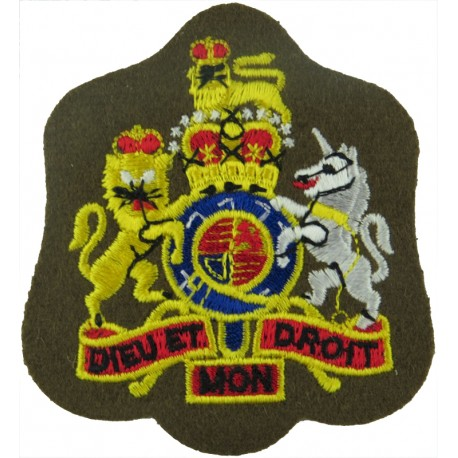 WO1 Rank Badge (Full Colour On Khaki - No Border) RCT / RLC with Queen Elizabeth's Crown. Embroidered Warrant Officer rank badge