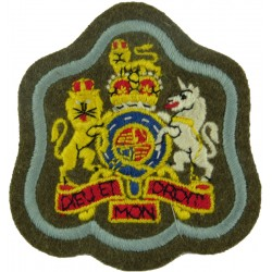 WO1 Rank Badge (on Khaki - Cambridge Blue Border) Army Air Corps/ SASC with Queen Elizabeth's Crown. Embroidered Warrant Officer