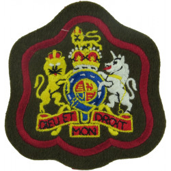WO1 (RSM) Rank Badge (Royal Artillery) On Khaki  Red Border with Queen Elizabeth's Crown. Embroidered Warrant Officer rank badge