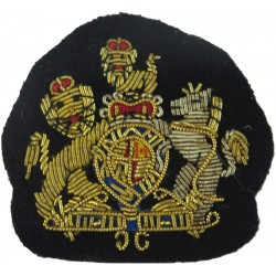 WO1 Rank Badge - Mess Kit Size On Dark Blue with Queen Elizabeth's Crown. Bullion wire-embroidered Warrant Officer rank badge