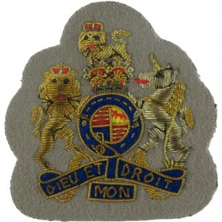 WO1 Rank Badge - No.1 Dress Size - On Grebe Grey ACC with Queen Elizabeth's Crown. Bullion wire-embroidered Warrant Officer rank