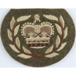 WO2 (RQMS) Rank Badge (Guards - Crown In Laurels) Khaki with Queen Elizabeth's Crown. Embroidered Warrant Officer rank badge