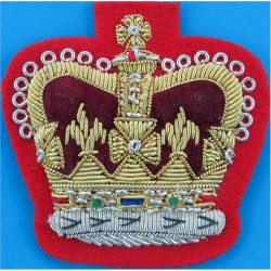 WO2 Rank Badge (Crown Only) - No.1 Dress On Scarlet with Queen Elizabeth's Crown. Bullion wire-embroidered Warrant Officer rank