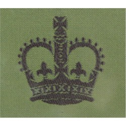 WO2 Rank Badge For DPM Combat Jacket Black On Olive Green with Queen Elizabeth's Crown. Woven Warrant Officer rank badge