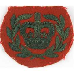 WO2 (RQMS) Rank Badge (WRAC - Crown In Laurels) Green On Beech Brown with Queen Elizabeth's Crown. Embroidered Warrant Officer r
