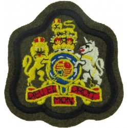 WO1 (RSM) Rank Badge (on Khaki - Black Border) APTC Or RTR with Queen Elizabeth's Crown. Embroidered Warrant Officer rank badge