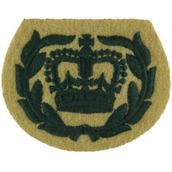 WO2 (RQMS) Rank Badge (Light Infantry) With Laurels Green On Maize with Queen Elizabeth's Crown. Embroidered Warrant Officer ran