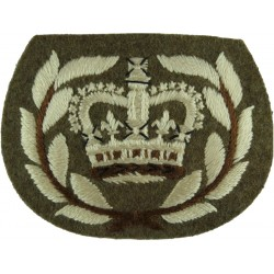 WO2 (RQMS) Rank Badge With Laurels No.2 Dress On Khaki with Queen Elizabeth's Crown. Embroidered Warrant Officer rank badge