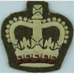 WO2 (Crown Only) Rank Badge No.2 Dress On Khaki with Queen Elizabeth's Crown. Embroidered Warrant Officer rank badge