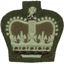 WO2 (Crown Only) Rank Badge Khaki - Guards with Queen Elizabeth's Crown. Embroidered Warrant Officer rank badge