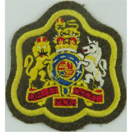 WO1 Rank Badge (on Khaki, Primrose Yellow Border) Cavalry & RAPC with Queen Elizabeth's Crown. Embroidered Warrant Officer rank