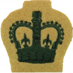 WO2 (Crown Only) Rank Badge (Light Infantry) Green On Maize with Queen Elizabeth's Crown. Embroidered Warrant Officer rank badge
