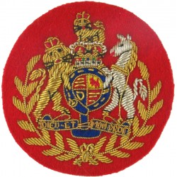 WO1 Rank Badge: No.1 Dress (Red): Conductor RAOC/RLC Royal Arms In Wreath with Queen Elizabeth's Crown. Bullion wire-embroidered