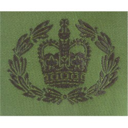 WO2 (RQMS) Rank Badge For DPM Combat Jacket Black On Olive Green with Queen Elizabeth's Crown. Woven Warrant Officer rank badge