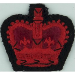 WO2 (Crown Only) Rank Badge - For Greatcoat Red On Black - Rare with Queen Elizabeth's Crown. Embroidered Warrant Officer rank b