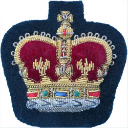 CCF WO1 (RSMI) (Combined Cadet Force) Brown On Camouflage with Queen Elizabeth's Crown. Embroidered Warrant Officer rank badge