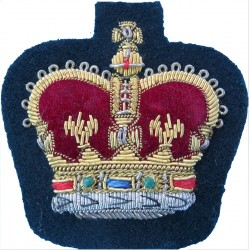 WO2 Rank Badge (Crown) - No.1 Dress Size Gold On Rifle Green with Queen Elizabeth's Crown. Bullion wire-embroidered Warrant Offi