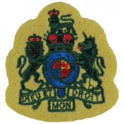 WO1 (RSM) Rank Badge (Light Infantry) Green On Maize with Queen Elizabeth's Crown. Embroidered Warrant Officer rank badge